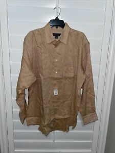 Brooks Brothers Mens 100% linen Long Sleeve Buttoned Shirt ITALY Peach Large NWT