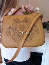NWT ISABELLA FIORE TOOLED AUSTIN CARLEY LEATHER BAG~TAN