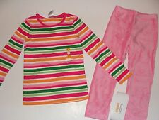 Gymboree Cheery All The Way Girls Size 4 Top Stripe Pink Velour Leggings NWT