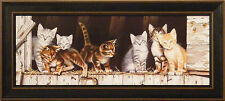 BARNYARD KITTENS by Deb Bovy 9x21 FRAMED PRINT PICTURE Cats Barn Kitties Kitty