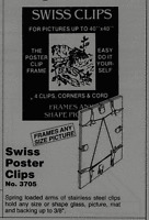 Swiss Poster Clips, Frameless Picture Hanger ,Picture Frame Clip
