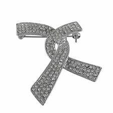Rhodium Plated Cubic Zirconia Ribbon Twist Womens Pin Brooch