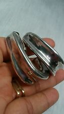 Stunning statement Bat Ami modernist sterling 925 electroform hoop clip earrings