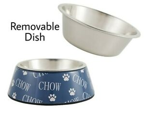 Whisker City® Chow Melamine Cat Bowl w/Stainless Steel - 12 oz Food Water Dish