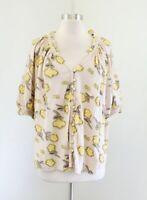 Ett Twa Anthropologie Floral Boxy Dolman Sleeve Peasant Blouse Top Size S Yellow