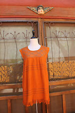 Ethnic Burnt Orange Crochet Yoke Cotton Fringed Bohemian Tunic Top  M/L