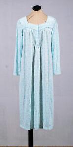 Croft & Barrow Mint Baby Blue Floral Lace Collar Long Modest Nightgown Sz S