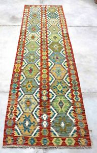Afghan Kundoz Genuine Handmade Tribal  Multi Colour Wool Kilim Rug 80x293cm