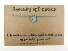 Dreaming Of The Ocean Fish Blue Tie On Message Card Wish Bracelet Gift Girls