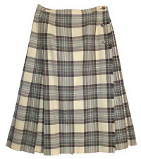 Aljean, Ivory & Gray, 100% Pure Virgin Wool, Plaid Pleated Wrap Skirt, size 10