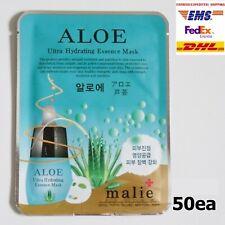 Malie 50pcs ALOE Essence Face Mask Packs Sheet 0.88oz 25g Moisturizing Cosmetic