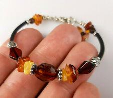 6,7-7,5 IN Vintage Elegant Genuine Baltic Amber Mixed Bracelet Tibet Silver 0020