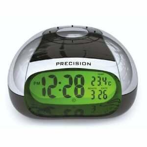 Talking Alarm Clock with Temperature Announcement, Silver/Black