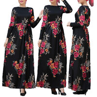 Women Floral Printed Maxi Long Sleeve Dress Muslim Ladies Belt Kaftan Robe Abaya