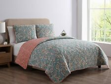 Bella Reversible Floral King Quilt Set,New