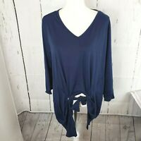 New NY Collection Blue Front Tie Tunic Shirt Top 3/4 Sleeve Women's Plus Size 2X