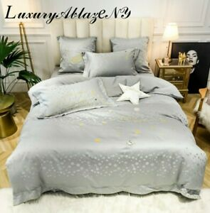 Luxury NEW Washed Silk Queen size Duvet Bedding Set With Gold Stars Embroidery