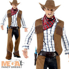 Smiffy S Fringe Cowboy Costume With Waistcoat Chaps Neckerchief and Hat Brown