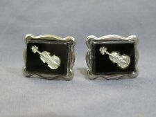 Vintage Men's Silver Tone & Black Cufflinks Violin Fiddle Costume Jewelry