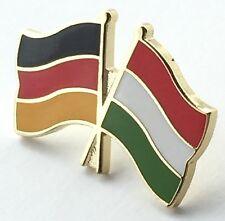 Germany & Hungary Friendship Flags Gold Plated Enamel Lapel Pin Badge