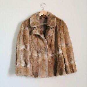 Vintage beautiful HONEY Real coney rabbit fur coat jacket M L