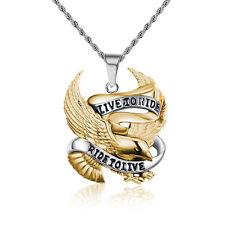 Harley Gold Retro Punk Rock Motor Biker Eagle Stainless Steel Pendant Necklace