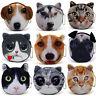 Girls Cartoon Cat dog Face Zipper Portable Mini Coin Purse Case Bag plush Wallet
