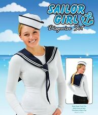 SAILOR KIT CAPPELLO & SCIARPA INSTANT KIT Uomini Donne Blu Navy FANCY DRESS ACCESSORIO UNISEX