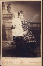 LITTLE GIRL WITH LARGE LIFE SIZE DOLL 1890s Cabinet Card Photo STERLING ILLINOIS