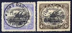 PAPUA 1910-11 OFFICIAL LAKATOI 2½D & 4D SUPERB PORT MORESBY CDS USED SG O32-O33