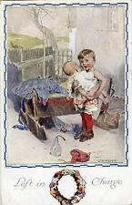 """PRINTED CHILDRENS POSTCARD """"LEFT IN CHARGE"""" BY C. TH. VON KEMPF, PUB. FAULKNER"""
