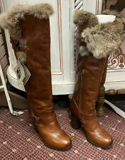 Frye Boots Brown With Fur Size 9 NWT