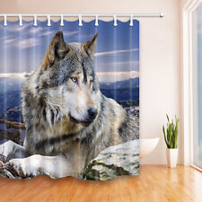 Wolf Waterproof -Fabric Home Decor Shower Curtain with 12 hooks Bathroom