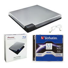 Pioneer BDR-XD07S Portable 6X Blu-ray Burner External Drive + 100GB M-DISC+Cable