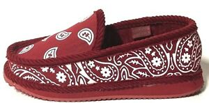 Trooper America Burgundy White Bandana Canvas/Corduroy Slippers House Shoes