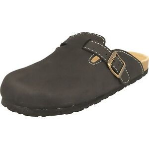 Cloxx Herren Schuhe Clogs T69911.80 Hausschuhe Pantolette Lederfußbett Black