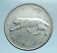 1967 CANADA Confederation Centennial Silver 25 Cents Coin LYNX Wild Cat i77765