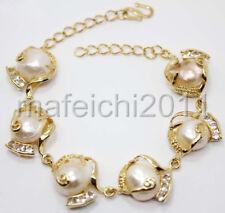 Fashion Pink Natural Freshwater Akoya Baroque Pearl 18KGP Link Bracelet