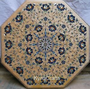 """19"""" Marble Coffee Table Top Semi Precious Stone Inlaid Work End Table for Decor"""