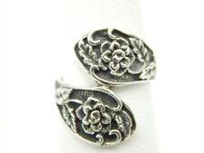 STERLING SILVER 925 OXIDIZED FLOWER BYPASS RING SIZE: 7.5 ADJUSTABLE
