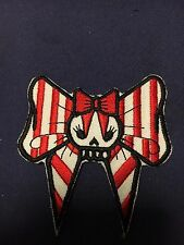 Iron On Patch -  Red Skull Bow