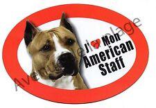 """Magnet chien """"J'aime mon American Staff"""" frigo/voiture idée cadeau NEUF"""