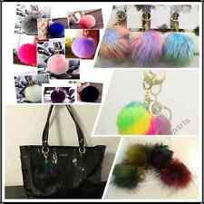 SALE 10pcs Rabbit Fur Pom Bag Charm Fluffy Fur Puff Ball Key Chain US Wholesaler