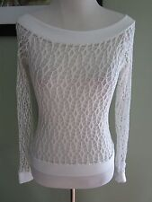Izzy Jae White Stretchy Long Sleeves Top Shirt One Size