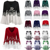 Newest Womens Boho Floral Long Sleeve Blouse Baggy Tops Ladies V Neck T Shirt UK