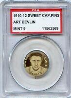 1910-12 Sweet Caporal Pins (P2)  Art Devlin  New York Giants  PSA  9  MINT