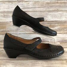 Easy Spirit Womens 8M Evellina Black Leather Moc Toe Hook & Loop Mary Jane Shoe
