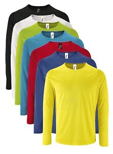 SOLS Sporty Long Sleeve Performance Breathable Polyester Tee T-Shirt