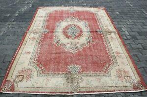 Turkish Hand Knotted Area Rug Medallion Design Red Color Vintage Carpet 6x9 ft.