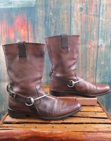 John Varvatos Brown Leather Horsebit Boots Size:10